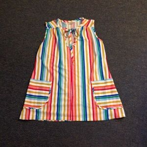 Vintage Rainbow Stripe Keyhole Top M